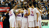 The team of Serbia celebrate after winning the FIBA EuroBasket 2015 Group B basketball match between Serbia and Germany at Arena of EuroBasket 2015...