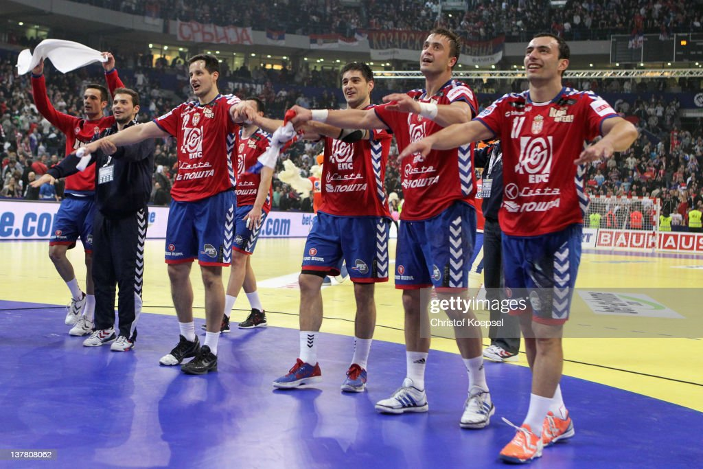 The team of Serbia celebrates the 26-22 victory after the Men's European Handball Championship second semi final match between Serbia and Croatia at Beogradska Arena on January 27, 2012 in Belgrade, Serbia.