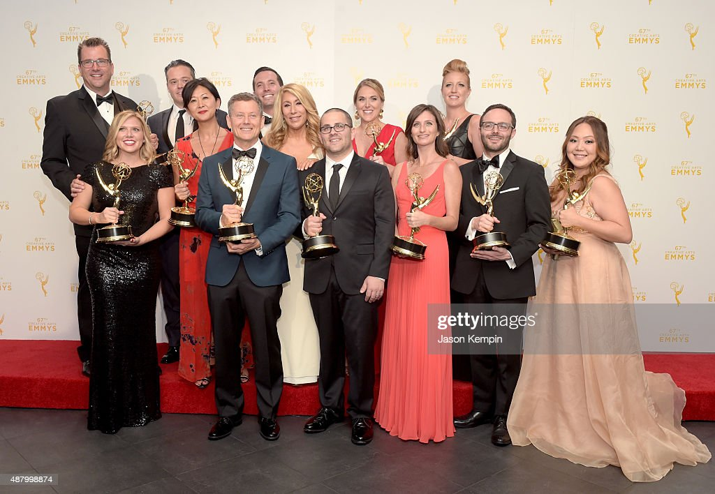 The team of 'Shark Tank,' winners of Outstanding Structured Reality Program pose in the press room during the 2015 Creative Arts Emmy Awards at Microsoft Theater on September 12, 2015 in Los Angeles, California.