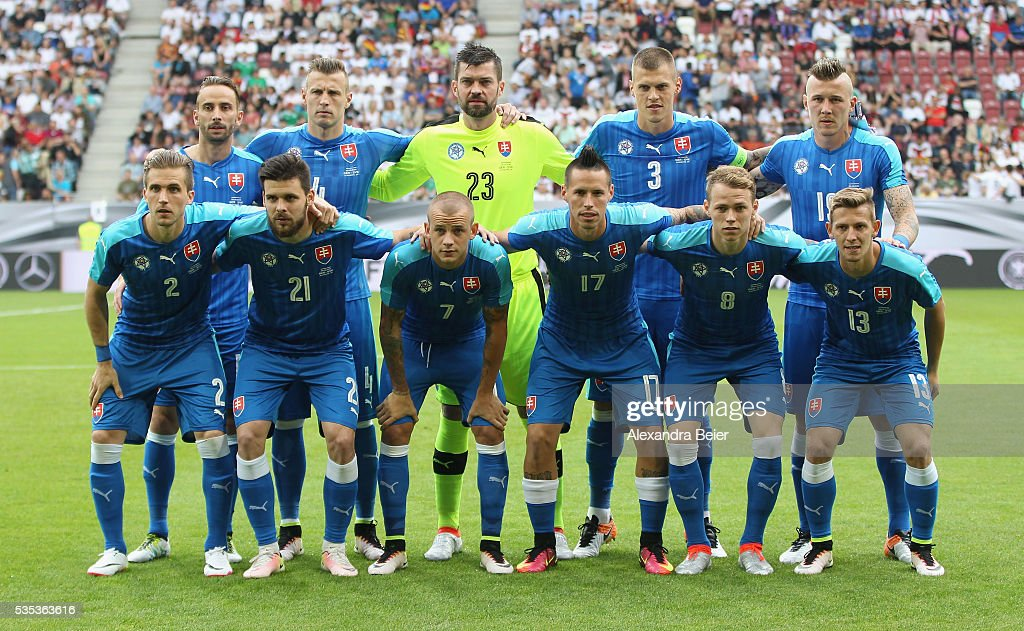 The team of Slovakia poses before the international friendly football match between Germany and Slovakia at WWK-Arena on May 29, 2016 in Augsburg, Germany.