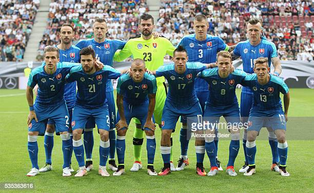 The team of Slovakia poses before the international friendly football match between Germany and Slovakia at WWKArena on May 29 2016 in Augsburg...