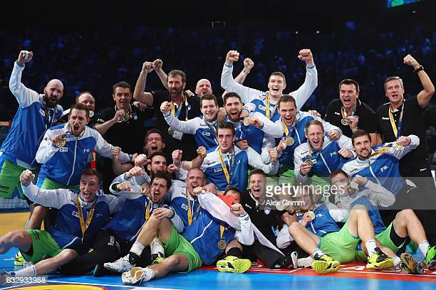The team of Slovenia celebrates after the 25th IHF Men's World Championship 2017 Bronze Medal Game between Slovenia and Croatia at Accorhotels Arena...