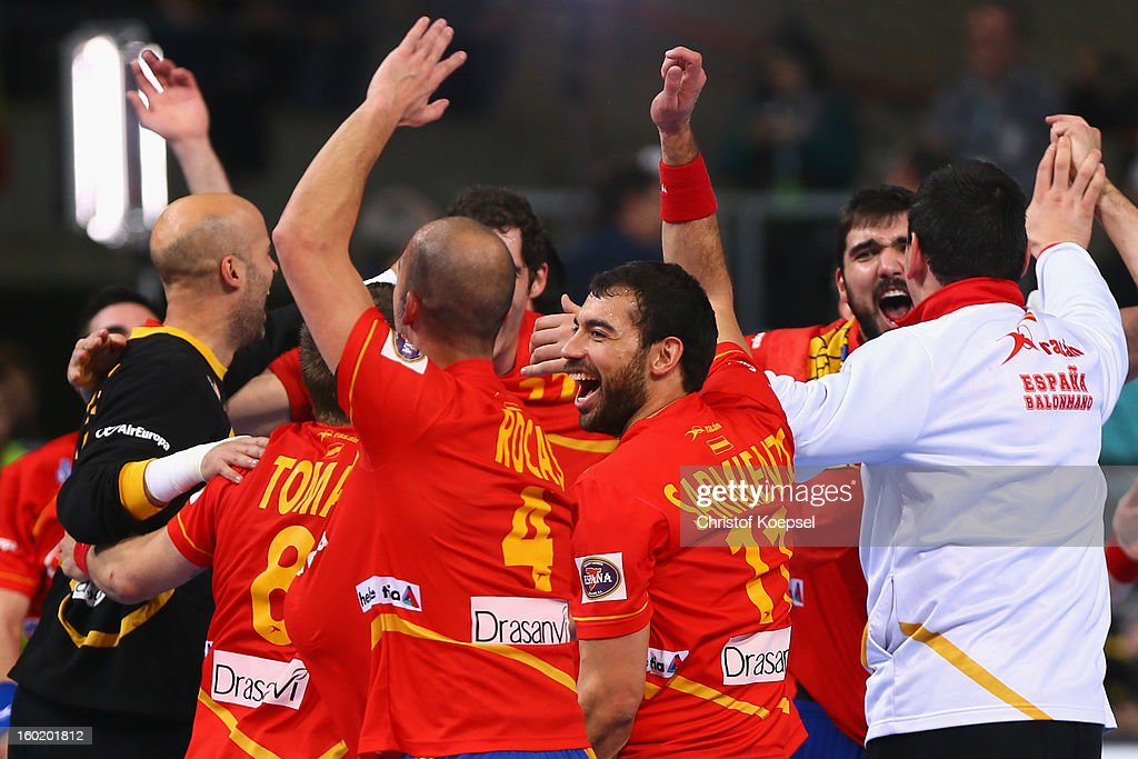 The team of Spain celebrates after winning the Men's Handball World Championship 2013 final match between Spain and Denmark at Palau Sant Jordi on January 27, 2013 in Barcelona, Spain.