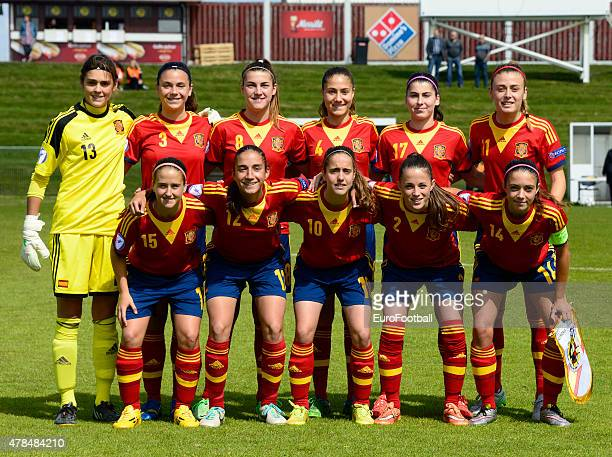 The team of Spain poses during the UEFA European Women's Under17 Championship match between U17 Germany and U17 Spain at Norouralsvollurinn on June...
