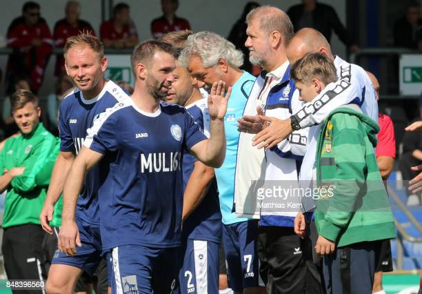 The team of SpVg Blau Weiss 1890 is pictured during the DFB over 40 and 50 cup at Amateurstadion on September 17 2017 in Berlin Germany