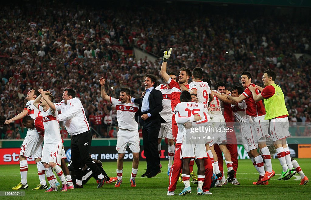 The team of Stuttgart celebrates after winning the DFB Cup Semi Final match between VfB Stuttgart and SC Freiburg at Mercedes-Benz Arena on April 17, 2013 in Stuttgart, Germany.