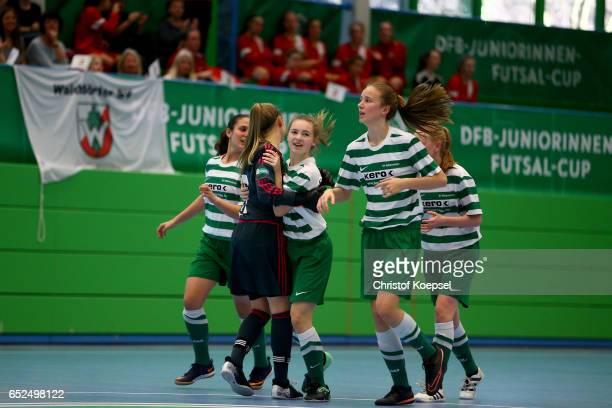 The team of SV Alberweiler celebrates the third goal during the B Junior Girl's German Futsal Championship at Bayer Hall on March 12 2017 in...