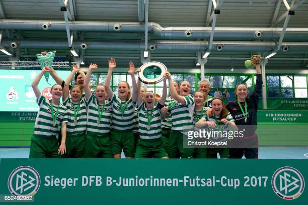 The team of SV Alberweiler celebrates winning the B Junior Girl's German Futsal Championship final between SV Alberweiler and 1 FC Koeln 30 at Bayer...