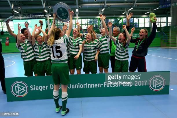 The team of SV Alberweiler celebrates winning the B Junior Girl's German Futsal Championship final between SV Alberweiler and 1 FC Koeln 30 at Bayer...