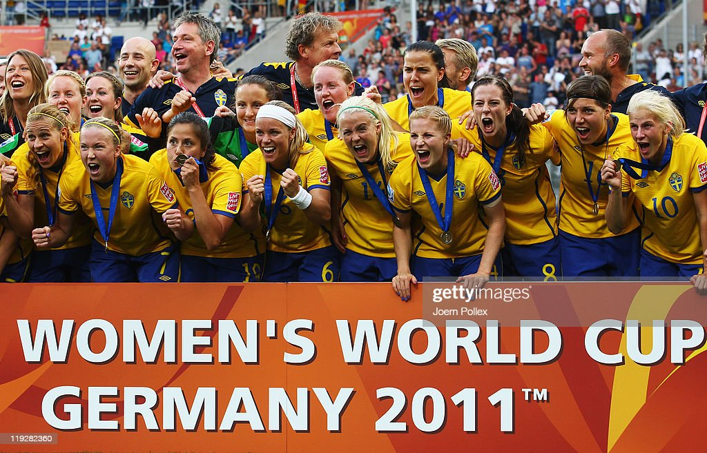 The team of Sweden celebrates after winning the FIFA Women's 3rd Place Playoff match between Sweden and France at Rhein-Neckar Arena on July 16, 2011 in Sinsheim, Germany.