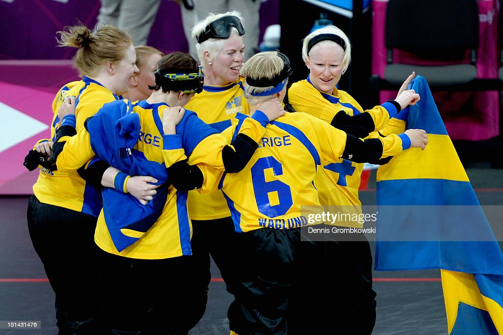 The team of Sweden celebrates after winning their Women's Team Goalball Bronze Medal match against Finland on day 9 of the London 2012 Paralympic Games at The Copper Box on September 7, 2012 in London, England.