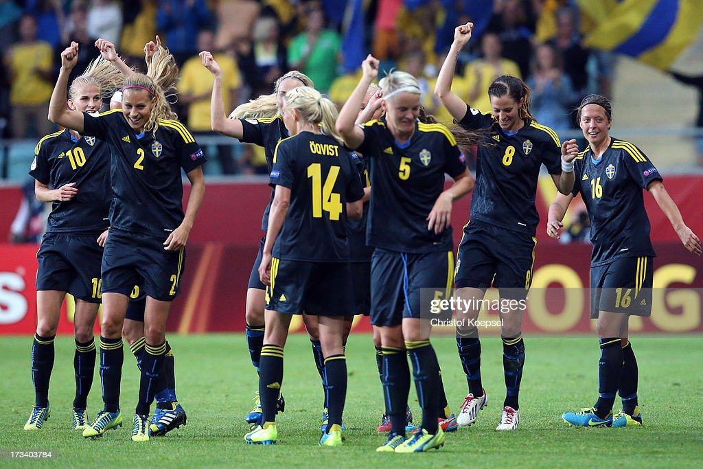 The team of Sweden dances after the forth goal scored by Lotta Schelin (2nd R) during the UEFA Women's EURO 2013 Group A match between Finland and Sweden at Gamla Ullevi Stadium on July 13, 2013 in Gothenburg, Sweden.