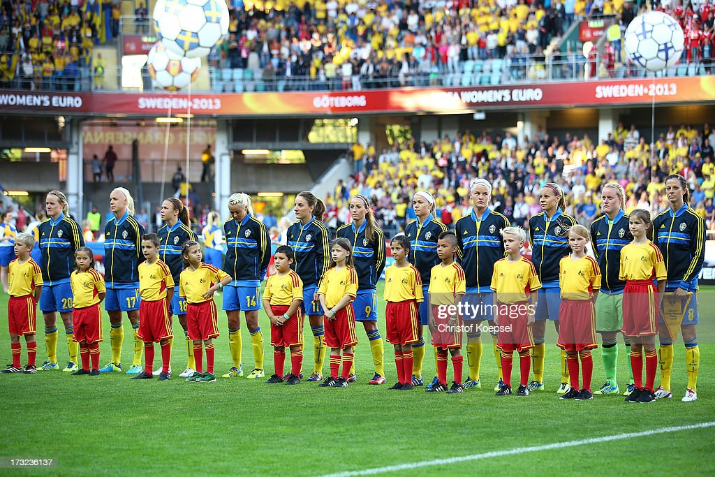 The team of Sweden stands up for the national anthem prior to the UEFA Women's EURO 2013 Group A match between Sweden and Denmark at Gamla Ullevi Stadium on July 10, 2013 in Gothenburg, Sweden. The match between Sweden and Denmark ended 1-1.