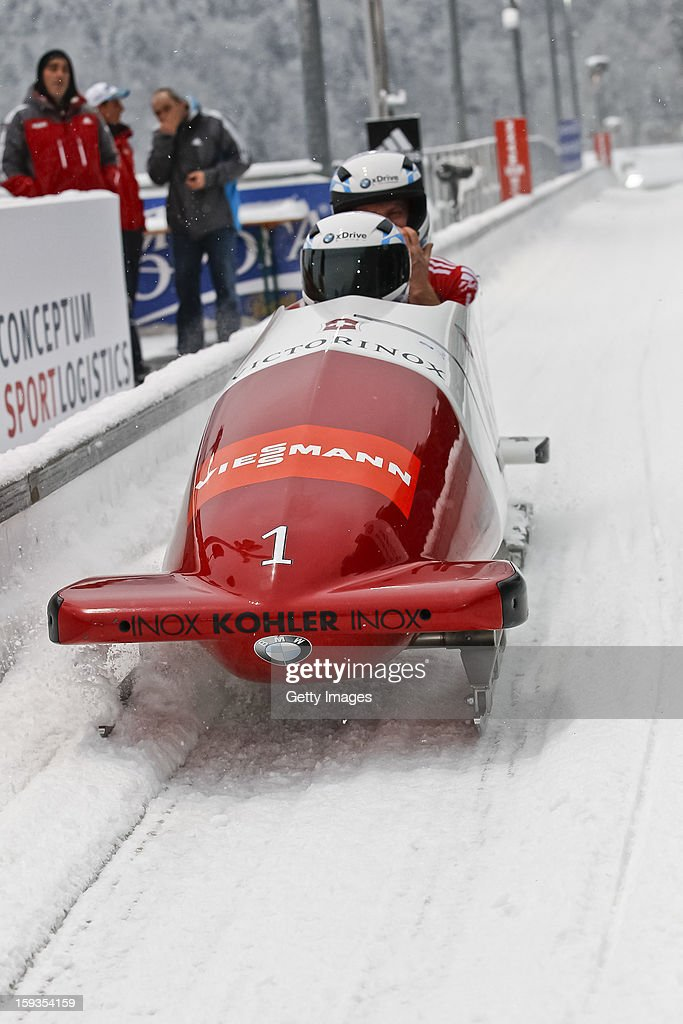 The team of Swiss 1 with Beat Hefti and Juerg Egger during the second run on January 12, 2013 in Koenigssee, Germany.