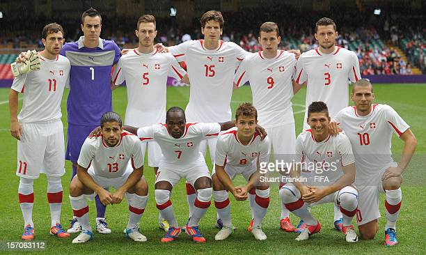 The team of Switzerland during the Men's Football first round Group B match between Mexico and Switzerland on Day 5 of the London 2012 Olympic Games...