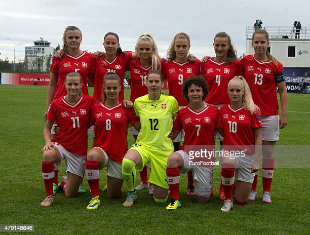 The team of Switzerland poses for a photo during the UEFA European Women's Under17 Championship semi final between U17 Switzerland and U17 Germany at...