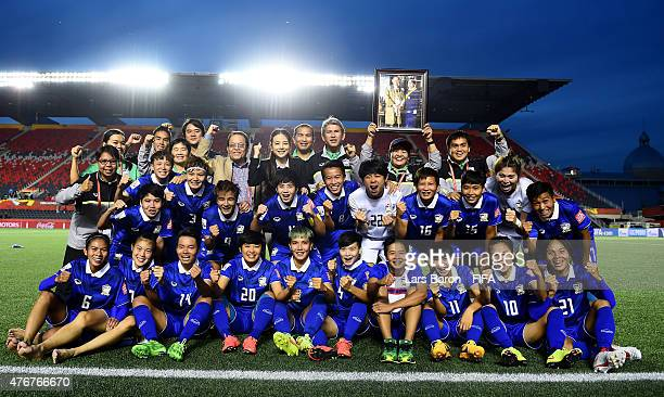The team of Thailand celebrate after winning the FIFA Women's World Cup 2015 Group B match between Cote d'Ivoire and Thailand at Lansdowne Stadium on...