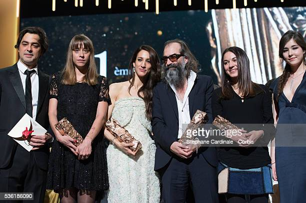 Charles Gillibert Alice Winocour Deniz Gamze Erguven Warren Ellis Mathilde Van de Moortel and Tugba Sunguroglu pose on stage during The Cesar Film...