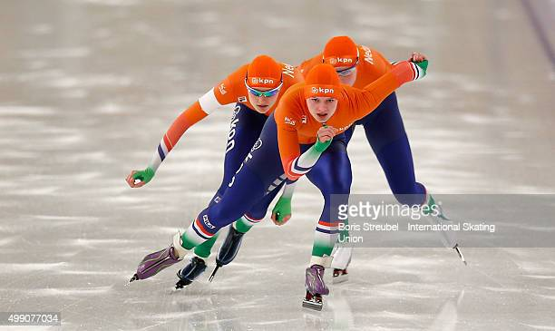 The team of the Netherlands compete during the women's team sprint race during day one of the ISU Junior World Cup Speed Skating at Sportforum...