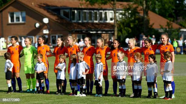 The team of the Netherlands poses prior to the U15 girl's international friendly match between Germany and Netherlands at Getraenke Hoffmann Stadion...