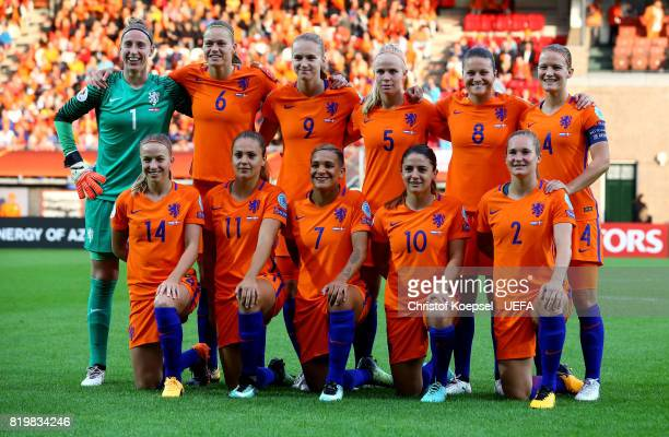 The team of the Netherlands poses prior to the UEFA Women's Euro 2017 Group A match between Netherlands and Denmark at Sparta Stadion on July 20 2017...