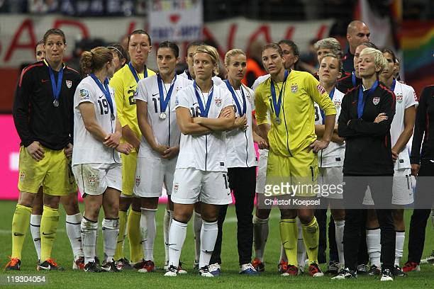The team of the USA looks dejected after losing the FIFA Women's World Cup Final match between Japan and USA at the FIFA World Cup stadium Frankfurt...