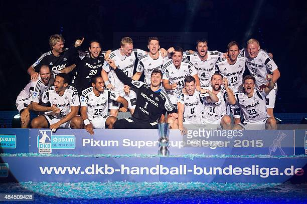 The team of THW Kiel celebrates the win after the Pixum Super Cup between THW Kiel and SG Flensburg Handewitt at PorscheArena on August 19 2015 in...