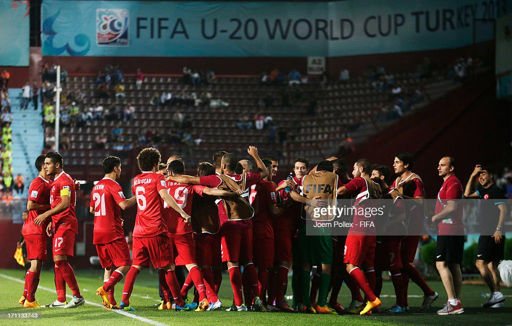 The team of Turkey celebrates after Cenk Sahin of Turkey scored his team's second goal during the FIFA U-20 World Cup Group C match between Turkey and El Salvador at Huseyin Avni Aker Stadium on June 22, 2013 in Trabzon, Turkey.