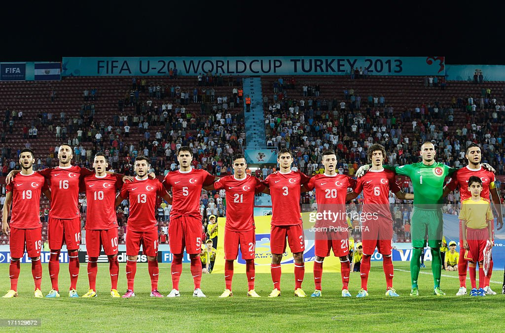 The team of Turkey is pictured prior to the FIFA U-20 World Cup Group C match between Turkey and El Salvador at Huseyin Avni Aker Stadium on June 22, 2013 in Trabzon, Turkey.