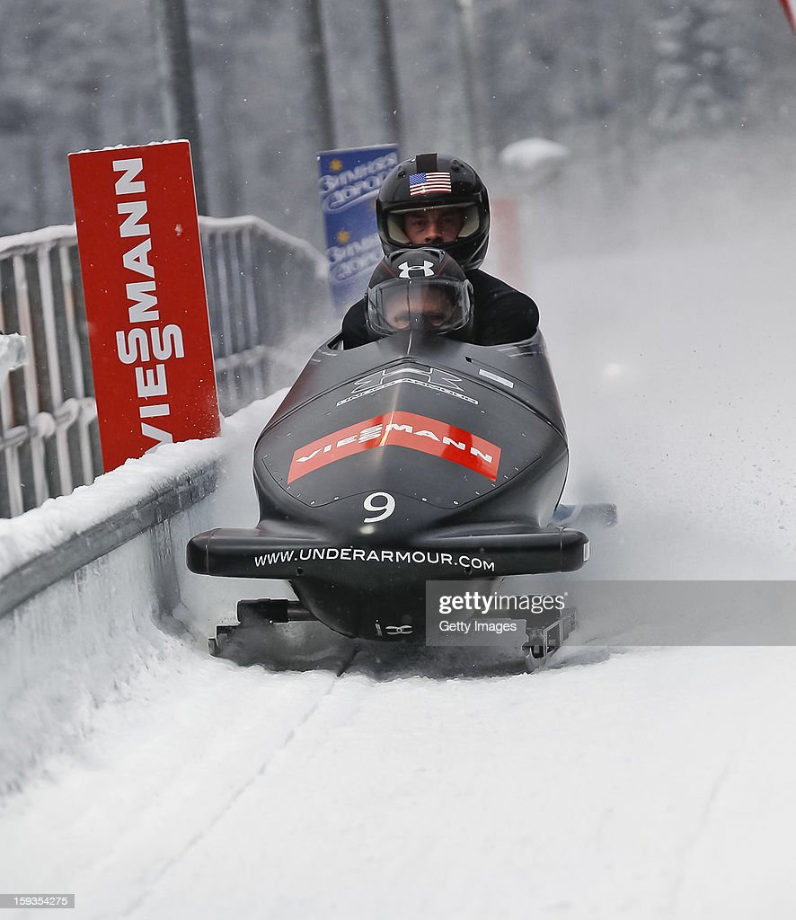 The team of USA 1 with <a gi-track='captionPersonalityLinkClicked' href=/galleries/search?phrase=Steven+Holcomb&family=editorial&specificpeople=813805 ng-click='$event.stopPropagation()'>Steven Holcomb</a> and <a gi-track='captionPersonalityLinkClicked' href=/galleries/search?phrase=Steven+Langton&family=editorial&specificpeople=4920267 ng-click='$event.stopPropagation()'>Steven Langton</a> during the second run on January 12, 2013 in Koenigssee, Germany.