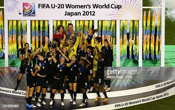 The team of USA celebrate after winning the FIFA U20 Women's World Cup Japan 2012 Final match between USA and Germany at National stadium on...
