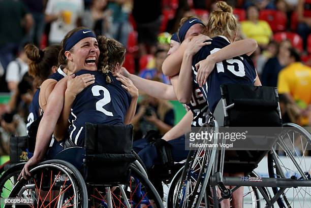 The team of USA celebrates after winning the Women's Wheelchair Basketball Final between Germany and USA at Olympic Arena on day 9 of the Rio 2016...