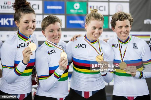 The team of USA with Kelly Catlin Chloe Dygert Kimberly Geist and Jennifer Valente celebrates winning the Women's Team Pursuit Finals during 2017 UCI...
