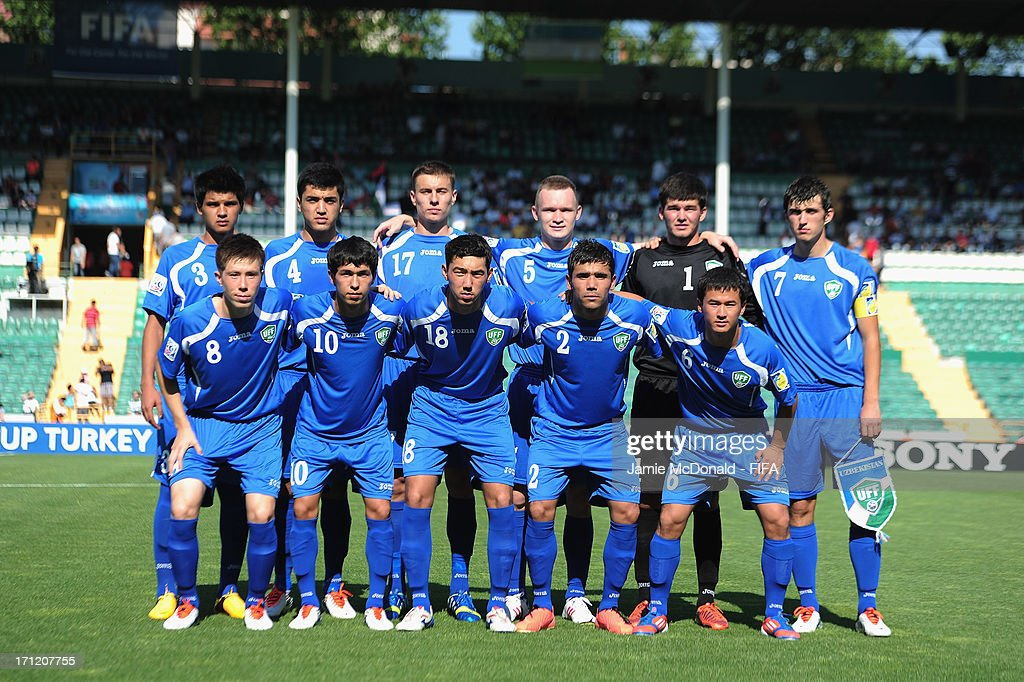 The team of Uzbekistan pose during the FIFA U-20 World Cup Group F match between New Zealand and Uzbekistan at the Ataturk Stadium on June 23, 2013 in Bursa, Turkey.