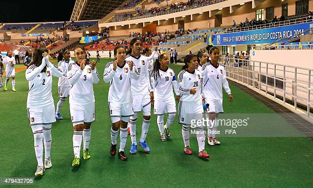 The team of Venezuela celebrate after the FIFA U17 Women's World Cup 2014 group A match between Venezuela and Zambia at Estadio Nacional on March 18...