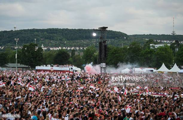 The team of VfB Stuttgart arrives for the FanParty after winning the 2 Second Bundesliga Championship title after the 2 Second Bundesliga match...