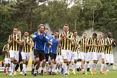the team of Vitesse at the warming up during the first training of the season of Vitesse Arnhem on June 28 2015 at Papendal The Netherlands