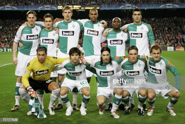 The team of Werder before the UEFA Champions League Group A match between FC Barcelona and Werder Bremen at the stadium Camp Nou on December 5 2006...