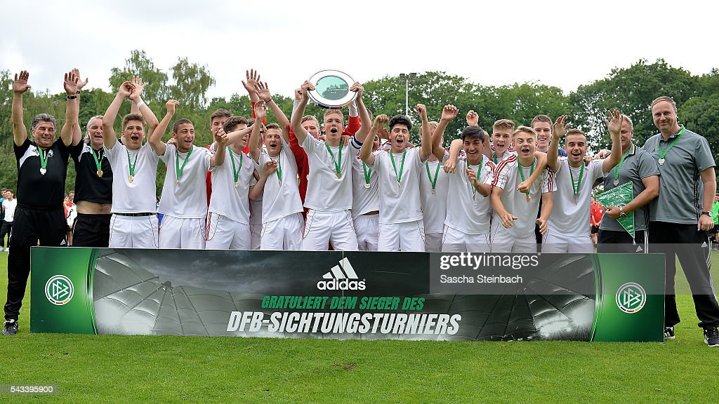 The team of Westfalen celebrates with the trophy after winning the U15 selection tournament at Sport School Wedau on June 28, 2016 in Duisburg, Germany.