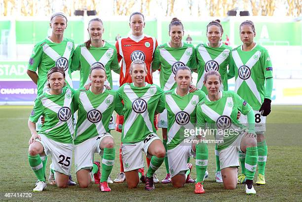 The team of Wolfsburg lines up prior to the first UEFA Women's Champions League quarter final match between VfL Wolfsburg and FC Rosengard at the AOK...