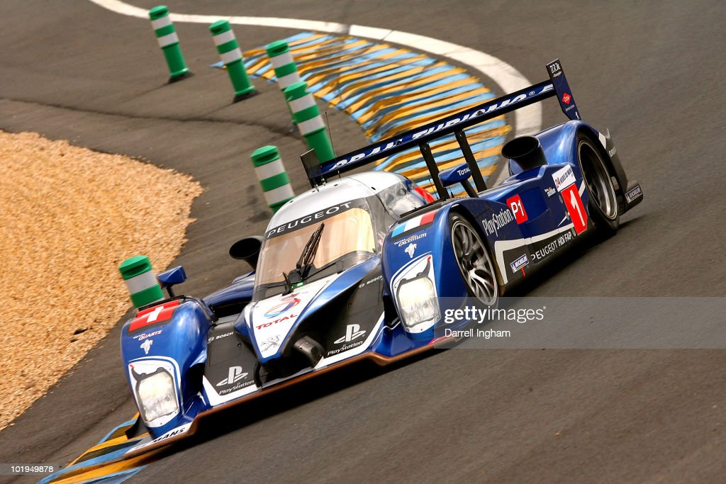 The #1 Team Peugeot Total Peugeot 908 driven by <a gi-track='captionPersonalityLinkClicked' href=/galleries/search?phrase=Alexander+Wurz&family=editorial&specificpeople=213756 ng-click='$event.stopPropagation()'>Alexander Wurz</a>, <a gi-track='captionPersonalityLinkClicked' href=/galleries/search?phrase=Marc+Gene&family=editorial&specificpeople=217824 ng-click='$event.stopPropagation()'>Marc Gene</a> and <a gi-track='captionPersonalityLinkClicked' href=/galleries/search?phrase=Anthony+Davidson&family=editorial&specificpeople=211538 ng-click='$event.stopPropagation()'>Anthony Davidson</a> during practice for the 78th running of the Le Mans 24 hours race at the Circuits des 24 Heures du Mans on 9 June 2010 in Le Mans, France.
