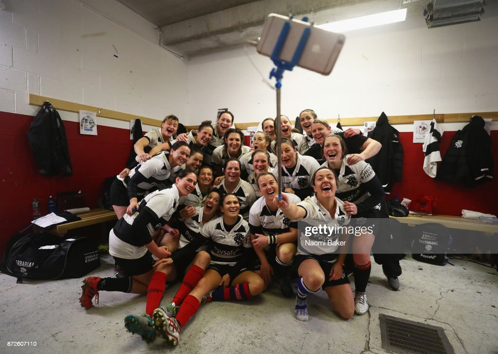 The team pose for a selfie in the dressing room after winning the Inaugural Representative Match between Barbarians Women's RFC and Munster Women, on November 10, 2017 in Limerick, Ireland.
