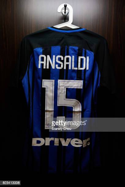 The team shirt of Cristian Ansaldi in the dressing room of FC Internzionale prior to kick off during the International Champions Cup match between FC...