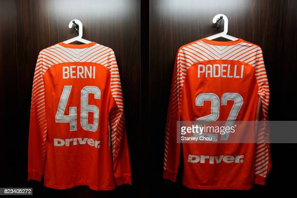 The team shirts of Tommaso Berni and Daniele Padelli in the dressing room of FC Internzionale prior to kick off during the International Champions...