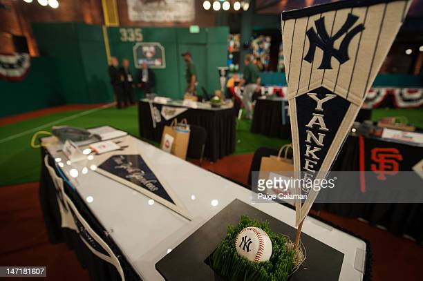 The team tables are adorned with pennants at the 2012 FirstYear Player Draft Monday June 4 at MLB Network's Studio 42 in Secaucus New Jersey
