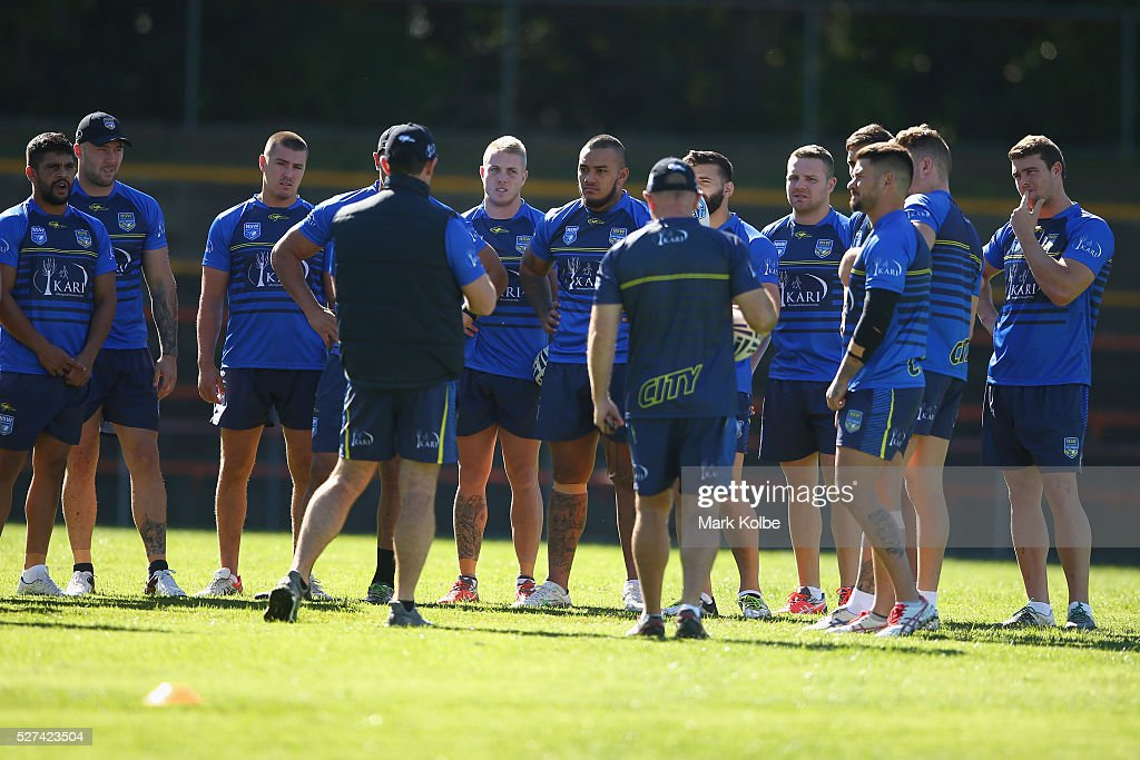 The team watch on as City coach Brad Fittler speaks to his players during a City NSW Origin training session at Leichhardt Oval on May 3, 2016 in Sydney, Australia.