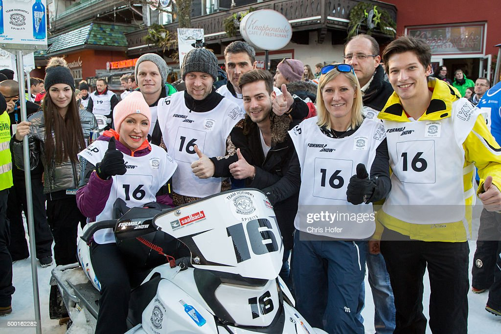 The Team with <a gi-track='captionPersonalityLinkClicked' href=/galleries/search?phrase=Heather+Mills&family=editorial&specificpeople=213766 ng-click='$event.stopPropagation()'>Heather Mills</a> (sitting), <a gi-track='captionPersonalityLinkClicked' href=/galleries/search?phrase=Stefan+Koubek&family=editorial&specificpeople=214103 ng-click='$event.stopPropagation()'>Stefan Koubek</a>, <a gi-track='captionPersonalityLinkClicked' href=/galleries/search?phrase=Andrea+Fischbacher&family=editorial&specificpeople=800274 ng-click='$event.stopPropagation()'>Andrea Fischbacher</a>, Antonio Liuzzi, Florian Straschil and Philip Eng during the third and final day of the Formula Snow 2015 ski opening on December 5, 2015 in Saalbach-Hinterglemm, Austria.