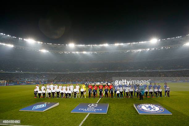 The teams and officials pose prior to the UEFA Champions League Group G match between FC Dynamo Kyiv and Chelsea at the Olympic Stadium on October 20...