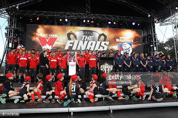 The teams are presented on stage during the 2016 AFL Grand Final Parade on September 30 2016 in Melbourne Australia