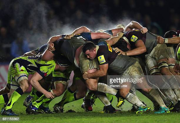 The teams battle in the scrum during the Aviva Premiership match between Harlequins and Sale Sharks at Twickenham Stoop on January 7 2017 in London...